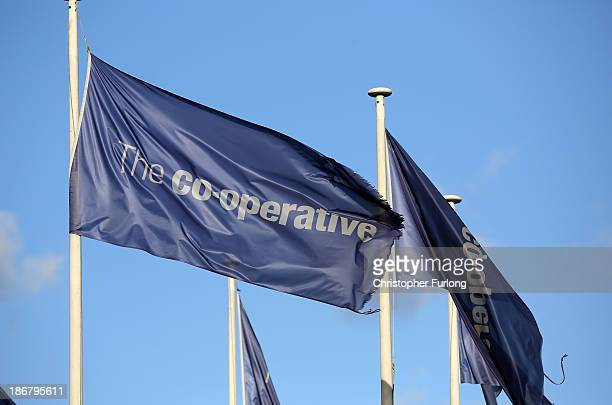 Corporate flags fly outside the Stockport Pyramid Cooperative Bank customer service centre on November 4 2013 in Stockport United Kingdom The...