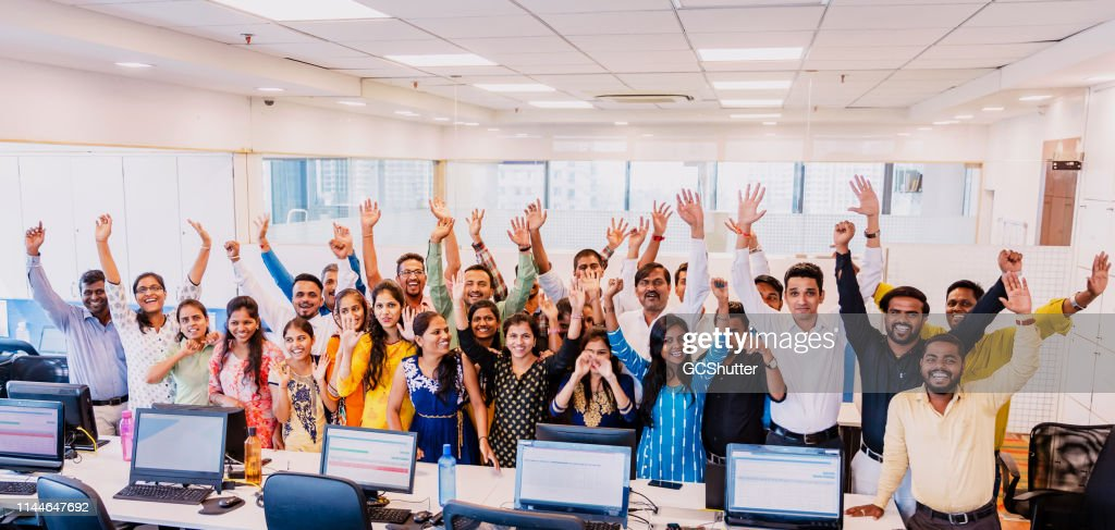 Ritratto di gruppo aziendale dei membri dello staff di tifo : Foto stock