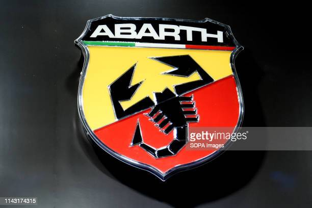Corporate image of the automotive brand Abarth that exhibits its vehicles seen at the Automobile Trade Fair 2019 in Barcelona