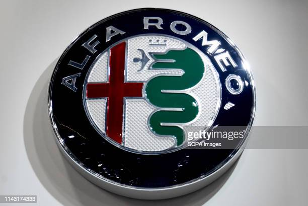 Corporate image of the automotive brand Alfa Romeo that exhibits its vehicles seen at the Automobile Trade Fair 2019 in Barcelona
