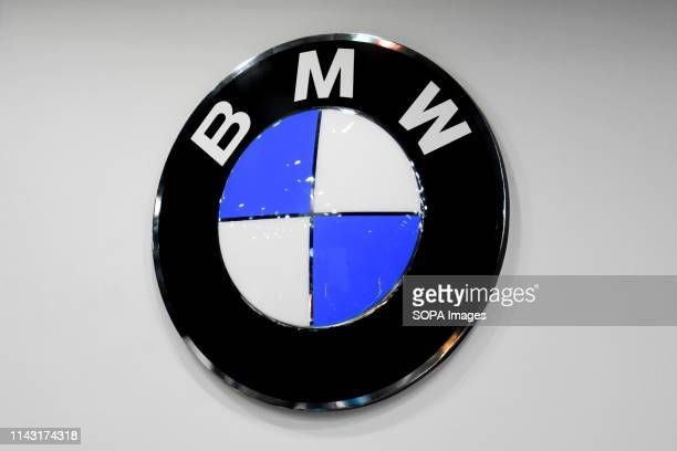 Corporate image of the automotive brand BMW that exhibits its vehicles seen at the Automobile Trade Fair 2019 in Barcelona