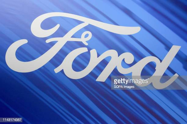 Corporate image of the automotive brand Ford that exhibits its vehicles seen at the Automobile Trade Fair 2019 in Barcelona