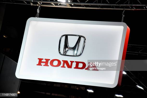 Corporate image of the automotive brand Honda that exhibits its vehicles seen at the Automobile Trade Fair 2019 in Barcelona