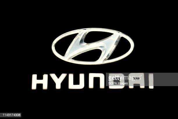 Corporate image of the automotive brand Hyundai that exhibits its vehicles seen at the Automobile Trade Fair 2019 in Barcelona