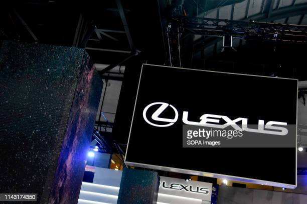 Corporate image of the automotive brand Lexus that exhibits its vehicles seen at the Automobile Trade Fair 2019 in Barcelona