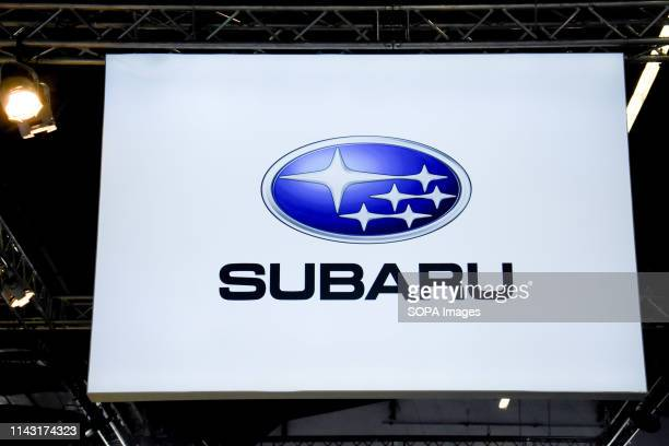 Corporate image of the automotive brand Subaru that exhibits its vehicles seen at the Automobile Trade Fair 2019 in Barcelona