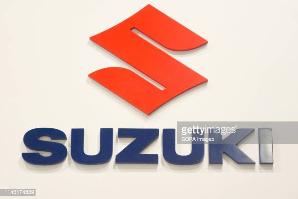 Corporate image of the automotive brand Suzuki that exhibits its vehicles seen at the Automobile Trade Fair 2019 in Barcelona