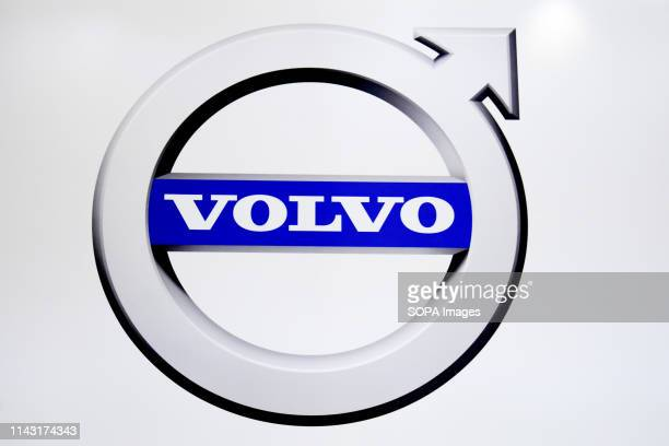 Corporate image of the automotive brand Volvo that exhibits its vehicles seen at the Automobile Trade Fair 2019 in Barcelona