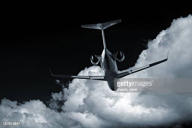 XL corporate jet airplane at night