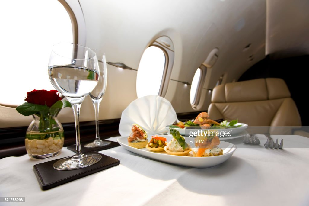 Corporate Jet Canapés meal. : Stock Photo