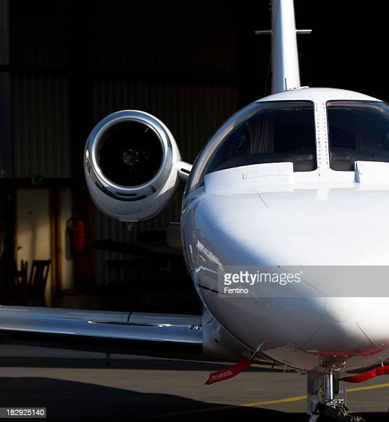 Corporate Jet in Hangar Close-up