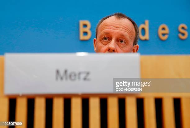 Corporate lawyer and former CDU parliamentary group leader Friedrich Merz addresses a press conference on February 25 2020 in Berlin about his...