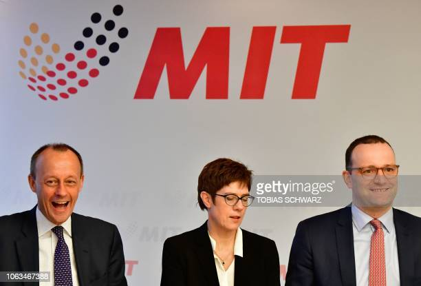 Corporate lawyer Friedrich Merz CDU secretary general Annegret KrampKarrenbauer and German Health Minister Jens Spahn top candidates to take over as...