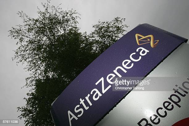 Corporate logos are seen outside the Macclesfield factory of AstraZeneca on May 15 in Macclesfield, England. Anglo-Swedish drugs giant AstraZeneca...