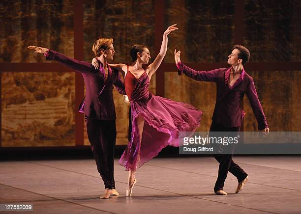 Corps de Ballet dancers Luke Willis Madison Keesler and Lonnie Weeks perform in the 1st movement of Trio with The San Francisco Ballet Performs of...
