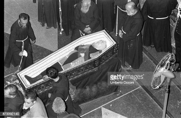 Corpse of Padre Pio in a coffin at the Sanctuary of Saint Pio of Pietrelcina 1968