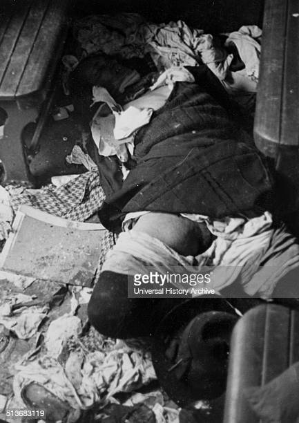Corpses in a room of civilians that were executed during the assault on Metgethen Germany by Soviet troops in 1945 during World War II