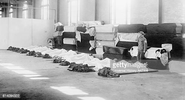 Corpses Laying on Floor with Coffins Lining Wall Great Dayton Flood Dayton Ohio USA circa 1913