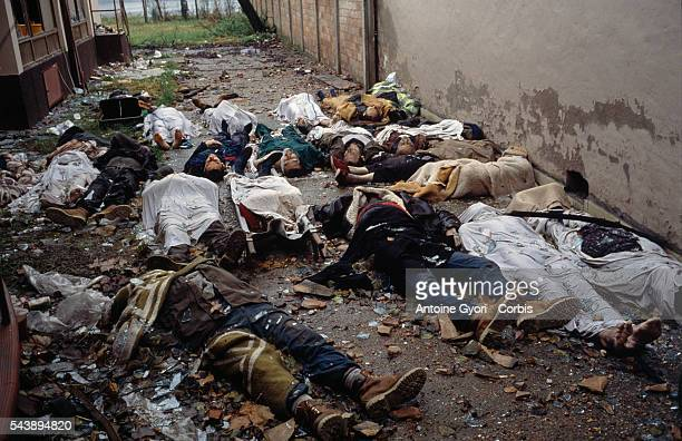 Corpses of civilians lie in the deserted streets of Vukovar after a threemonth battle between the Croatian armed forces and the Yugoslavian Federal...