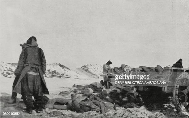 Corpses ready for the pyre, Harbin, the plague in Manchuria, China, photograph by F Moore, from L'Illustrazione Italiana, Year XXXVIII, No 12, March...