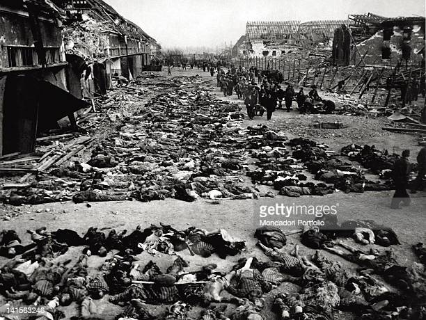 Corpses scattered in the square of Nordhausen concentration camp Germany May 1945