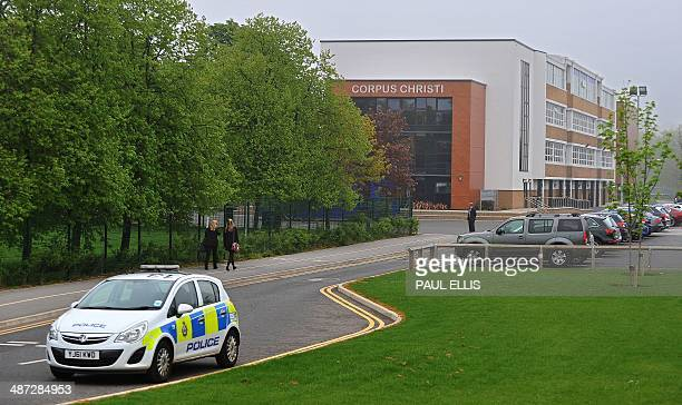 Corpus Christi Catholic College is pictured in Leeds northern England on April 29 2014 British police arrested a 15yearold male pupil after a female...