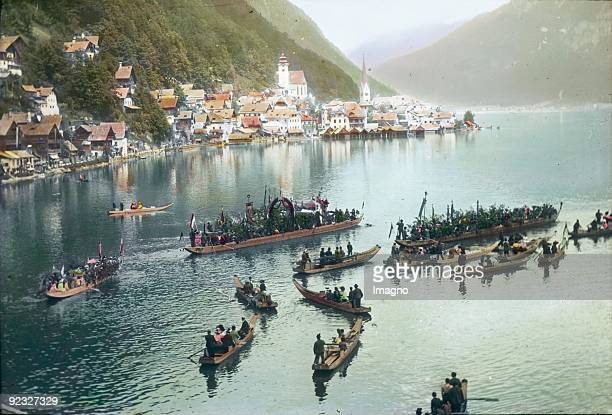 Corpus Christi procession on the Hallstaetter Lake Salzkammergut Upper Austria Handcolored lantern slide Around 1900
