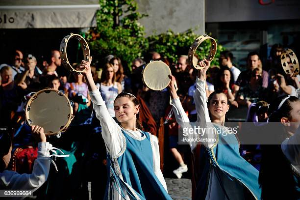 corpus domini day - tambourine stock photos and pictures
