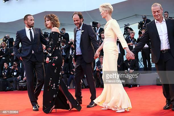 Corrado Guzzanti Tilda Swinton director Luca Guadagnino actors Dakota Johnson and Matthias Schoenaerts attend a premiere for 'A Bigger Splash' during...