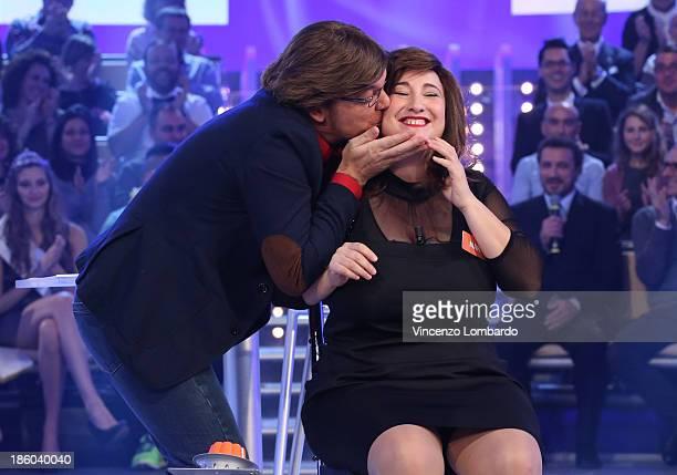 Corrado Nuzzo and Maria Di Biase attend 'Quelli Che Il Calcio' Italian TV Show on October 27 2013 in Milan Italy