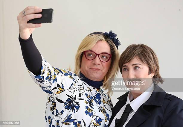 Corrado Nuzzo and Maria Di Biase attend the 'Quelli Che Il Calcio' Tv Show on April 12 2015 in Milan Italy