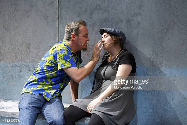 Corrado Nuzzo and Maria Di Biase young comic actors of the Italian tv show Zelig during the rehearsal of the comedy A Midsummer Night's Dream by...