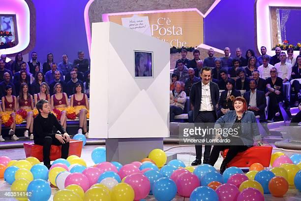 Corrado Nuzzo Nicola Savino and Maria Di Biase attend the 'Quelli Che Il Calcio' Tv Show on February 15 2015 in Milan Italy