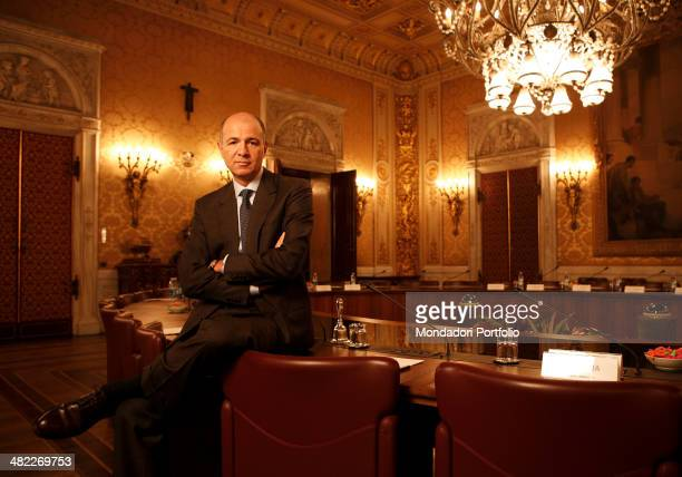 Corrado Passera chief executive officer of Intesa San Paolo posing in the council house of the branch of the bank in Milan Italy on January 15th 2008...