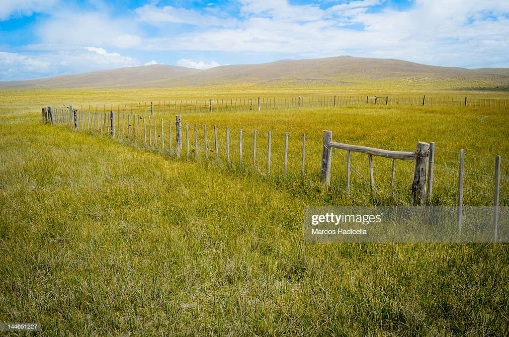 Corral at patagonic steppe : Stock Photo