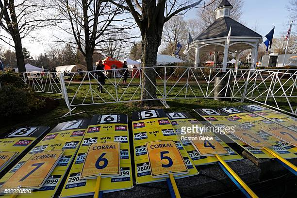 Corral markers lay in the Hopkinton Mass town common before the start of the 120th Boston Marathon on April 18 2016