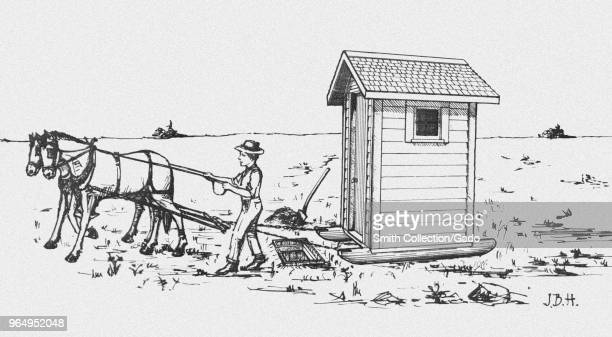 Correct method of moving a sanitary type of farmhouse privy atop a new pit digitally enhanced and colorized drawing 1916 Image courtesy Centers for...