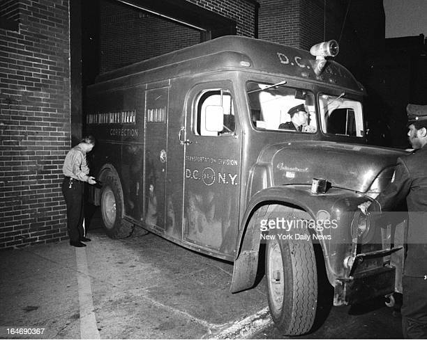 Correction Department van backs into the Women's House of Detention with Alice Crimmins She was led stumbling and weeping from Queens Supreme Court...
