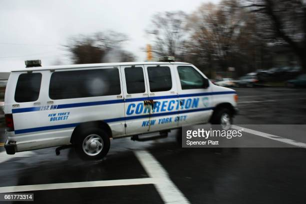 A corrections van enters Rikers Island on March 31 2017 in New York City New York Mayor Bill de Blasio has said that he agrees with the fundamentals...