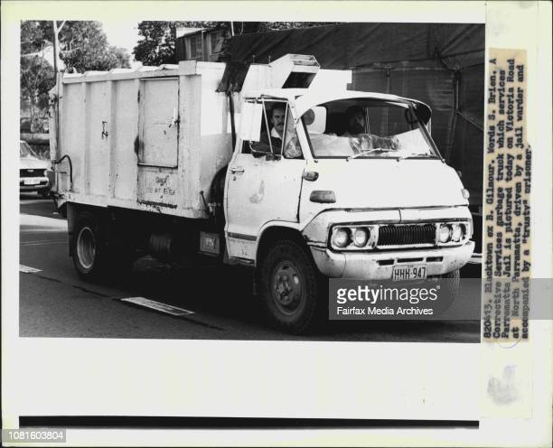 A Corrective Services garbage truck which services Parramatta Jail is pictured today on Victoria Road at North Parramatta driven by a jail warder and...