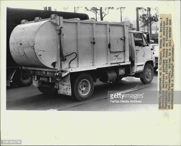 A Corrective Services garbage truck which services Parramatta Jails pictured today on Victoria Road at North Parramatta driven by a jail warder and...