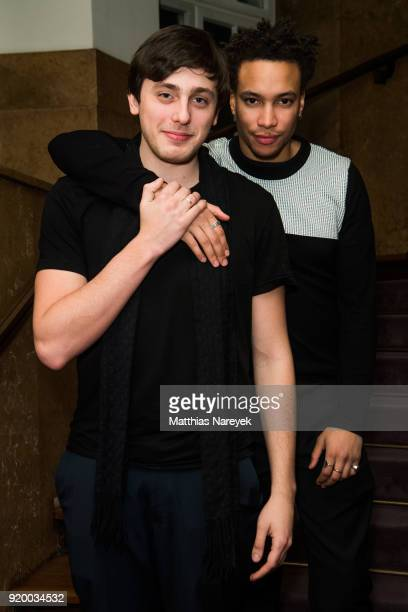 Correntin Fila and Andranic Manet attend the reception of 'A Paris Education' during the 68th Berlinale International Film Festival Berlin at on...