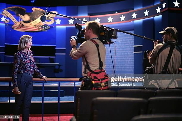 NBC correpsondent Chris Jansing reports from inside Willett Hall before the vice presidential debate at Longwood University October 4 2016 in...