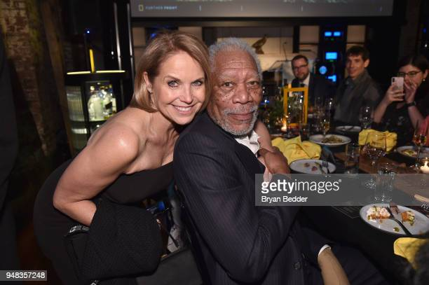Correspondent and Executive Producer Katie Couric of 'America Inside Out With Katie Couric' and Host and Executive Producer Morgan Freeman of 'The...