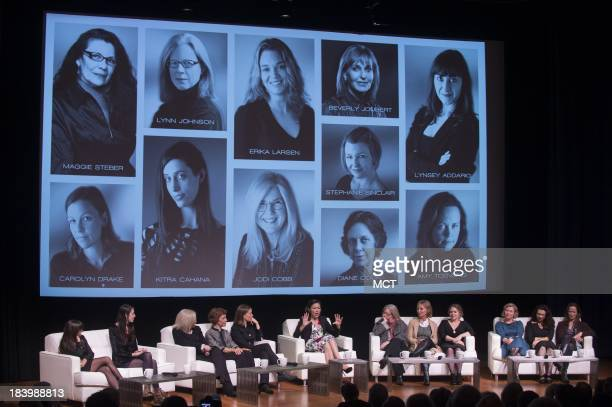NBC correspondent Ann Curry moderates a panel discussion with photographers Lynsey Addario Kitra Cahana Jodi Cobb Diane Cook Carolyn Drake Lynn...