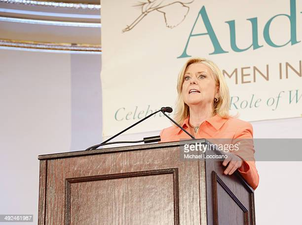 Correspondent Anne Thompson addresses the audience during the National Audubon Society's Women In Conservation luncheon at The Plaza Hotel on May 20...