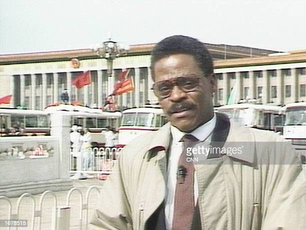 CNN correspondent Bernard Shaw reports from Tiananmen Square during prodemocracy student protests on May 18 1989 Shaw one of the original anchors of...