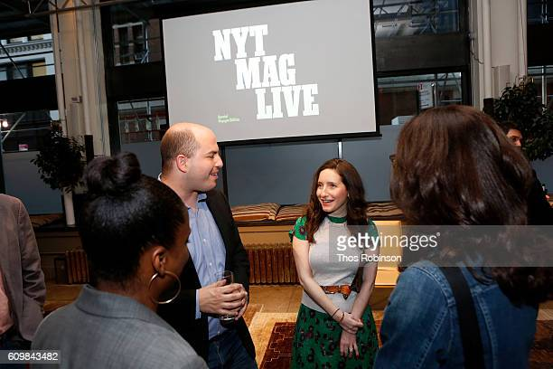 Correspondent Brian Stelter and Jamie Shupak Stelter attend NYT Mag Live A Special Voyages Edition at Neuehouse on September 22 2016 in New York City