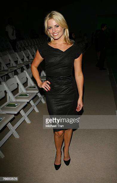 TV correspondent Courtney Friel front row at Marc Bouwer Spring 2008 Collection during MercedesBenz Fashion Week at The Promenade in Bryant Park on...