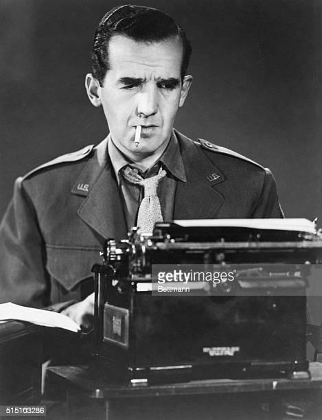 CBS correspondent Edward R Murrow at his typewriter in London during World War II